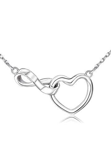 Collar de corazón infinito para mujer, plata de ley 925 con colgante de amor eterno Mobius, joyería simple y fina, regalo para amante, cadena extensible ajustable de 45,7 cm + 5 cm