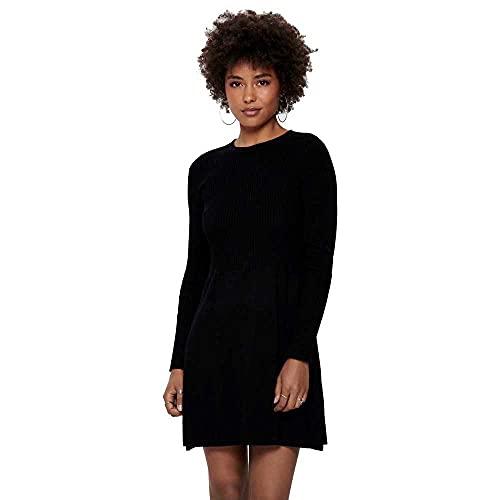 Only Onlalma L/S O-Neck Dress Knt Noos Vestido, Negro (Black Black), M para Mujer
