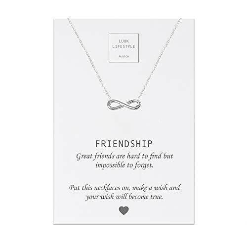 LUUK LIFESTYLE Collar de acero inoxidable con colgante de infinito I infinity y tarjeta de Friendship, amuleto de la suerte, cadena de la amistad, regalo de cumpleaños, plata