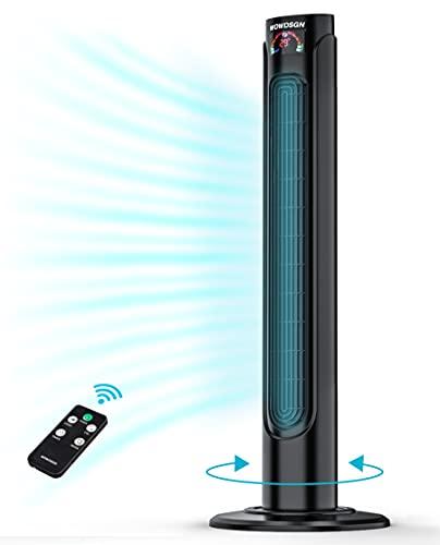Ventilador Torre Silencioso,WOWDSGN-Ventilador Torre con Mando, Oscilación de 90°,35W, 3 Velocidades y 3 Modos,93cm, Temporizador 15H, Temperatura LED,Negro