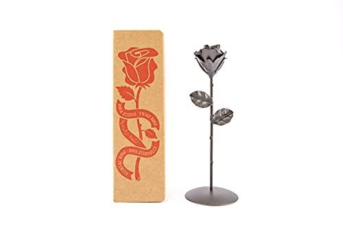 Rosa Eterna de Hierro Forjado con Peana - Forjada a Mano (Negra)