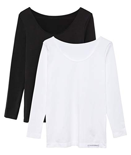 Pack de 2 Camisetas Interiores Mujer Manga Larga Licra Sin Costuras Seamless Colores Lisos (Blanco-Negro, M-L)
