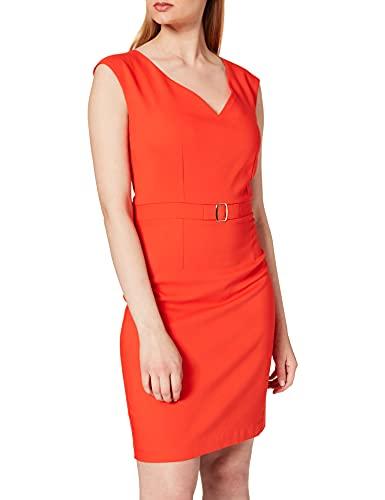 Morgan Robe AJUSTEE Ceinture Decorative 211-RDOTIE.F Vestido, Naranja, 38 para Mujer