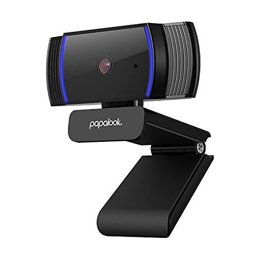 papalook Webcam 1080P, AF925 con Enfoque Automático y Micrófono de Reducción de Ruido,Diseño Plegable, Giratorio de 360 Grados, Cámara de la Computadora Portátil USB - Negro