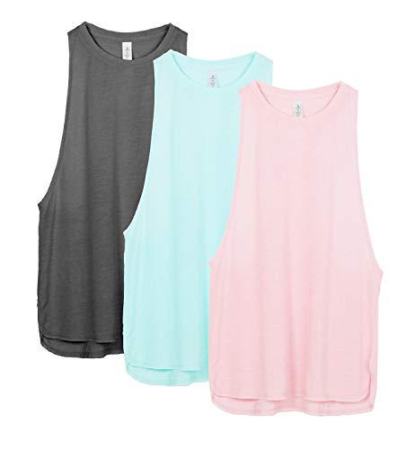 icyzone Sueltas y Ocio Camiseta sin Mangas Camiseta de Fitness Deportiva de Tirantes para Mujer(Paquete de 3) (M, Carboncillo/Pearl Blush/Aqua)