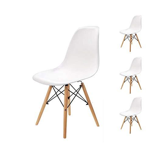 Pack 4 sillas de Comedor Silla diseño nórdico Retro Estilo (Blanco-4)