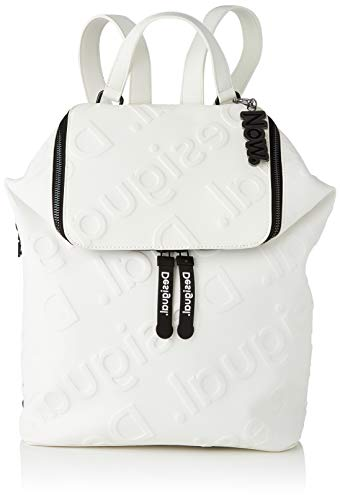 Desigual PU Backpack Big, Mochila de Poliuretano Grande. para Mujer, Blanco, Medium