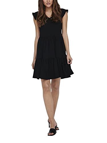 Only ONLMAY Life Cap Sleeves Frill Dress JRS Vestido, Negro, M para Mujer