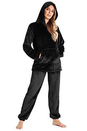 CityComfort Pijamas Mujer, Pijama Mujer Invierno de Forro Polar, Conjunto con Camiseta y Pantalon Largo, Regalos para Mujer, Talla S-XL (S, Negro)