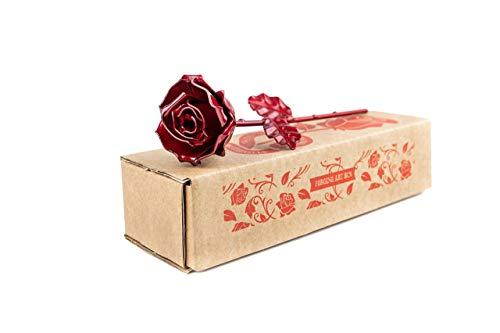 Rosa Eterna de Hierro Forjado - Forjada a Mano (Roja)