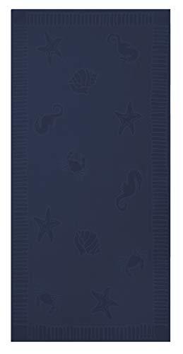 ZOLLNER Toalla de Playa Grande, 100x200 cm, algodón, Azul Marino