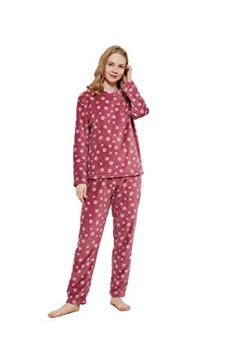 PimpamTex – Pijama Coralina de Mujer Otoño-Invierno de Manga Larga Polar Calentito con Tacto Suave – (L, Snow Malva)