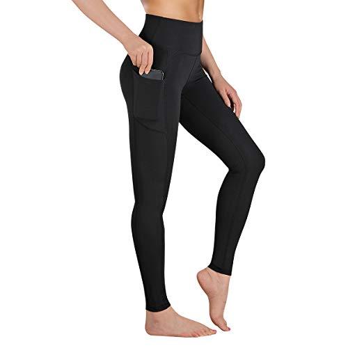 GIMDUMASA Pantalón Deportivo de Mujer Cintura Alta Leggings Mallas para Running Training Fitness Estiramiento Yoga y Pilates GI188(Negro,l)