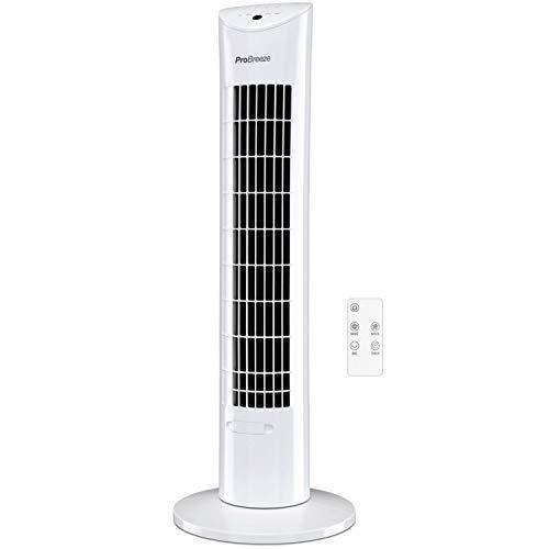 Pro Breeze Ventilador de Torre Oscilante Silencioso 60W con Temporizador y Mando a Distancia, Oscilación de 70° y 3 Modos de Funcionamiento - Altura de 76 cm