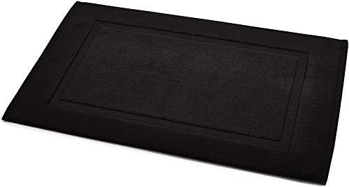 Amazon Basics - Alfombra de baño con franja, color negro