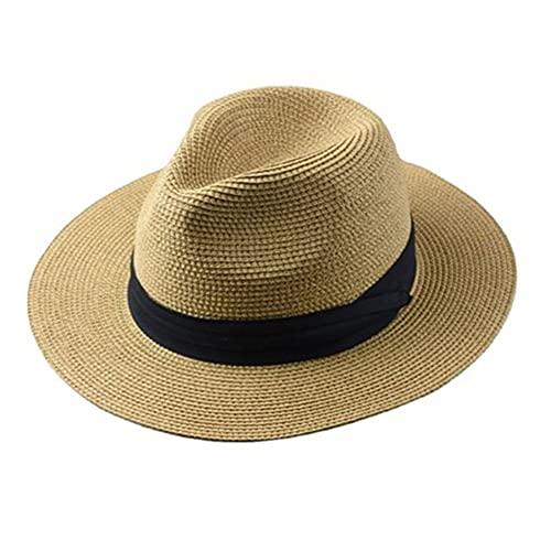 ZYQ Sombrero De Paja Tejido De Cabeza Grande Plegable para Hombre Gorra De Sol De Protección Solar Transpirable Al Aire Libre De Verano 5 Colores (Color : A, Size : 61-64 cm)