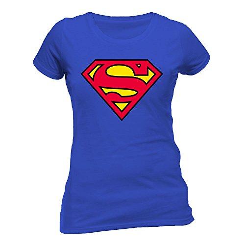 Collectors Mine - Camiseta de Superman con cuello redondo de manga corta para mujer, color azul, talla S