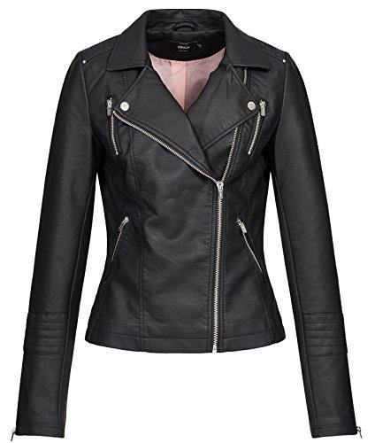 Only ONLGEMMA Faux Leather Biker OTW Noos Chaqueta, Negro (Black Black), 40 para Mujer
