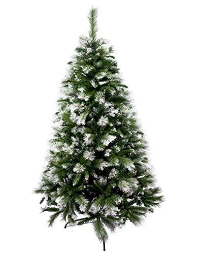 Solagua Árbol de Navidad Artificial Extra Relleno Abeto de Doble Hojas Combinadas 150-240cm Arboles C/Soporte Metálico (Nevado, 150cm 418Tips)