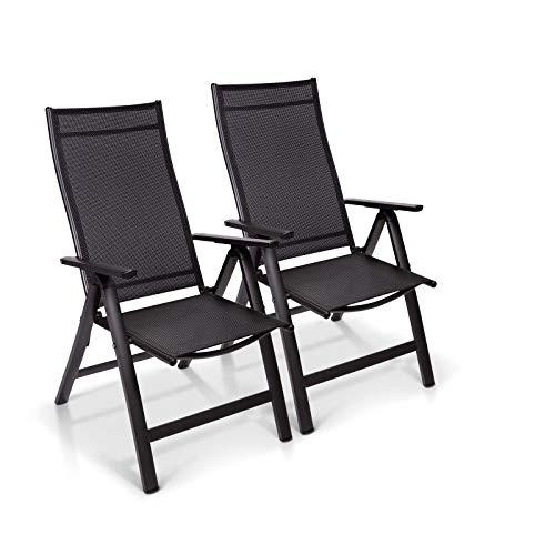 Homeoutfit24 Sun Garden Premium Line - Juego de 2 sillas de jardín con respaldo alto London en antracita, sillas plegables de aluminio