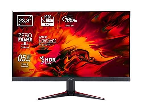 Acer Nitro VG240YS - Monitor Gaming de 24' Full HD 165 Hz (61 cm, 1920x1080, Pantalla IPS LED, ZeroFrame y FreeSync, 250 nits, Tiempo de Respuesta 2ms, 2xHDMI) - Color Negro