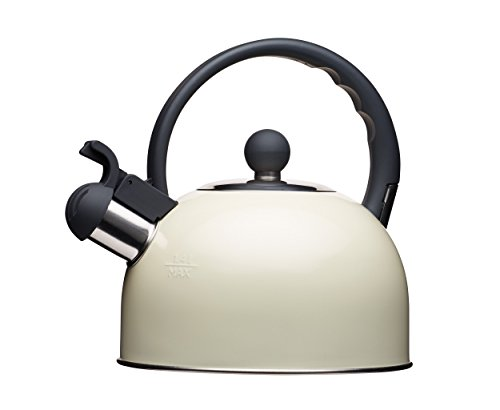 Living Nostalgia Kitchencraft Tetera de silbadora, para Cocina de inducción y eléctrica, 1,4l (2,5pintas), Estilo Antiguo, Metal, Crema, 18 x 21.5 x 21 cm