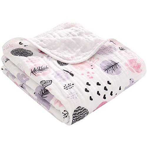 Miracle Baby Mantas Bebe Algodón, Swaddle Blanket de Muselina 100% Algodón, Arrullo para Bebe,Baño De Envolver para Recién Nacido Dos Capas 110x150cm