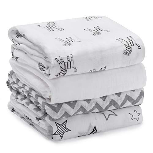 Momcozy de 4 Cobertores para Bebés con Patrón, 120 * 120 cm, 70% de Bambú, 30% de Algodón en Las Mantas para Bebés, Manta Suave para Dormir para el Bebé (Cebra)