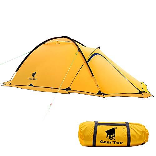 GEERTOP® Alpinismo Tienda de Campaña Impermeable Ultra Ligera - UV Resistente - 4 Estaciones 2 Personas 120 x 210 x 100 cm - para Acampar Excursionismo y Turismo (Amarillo)