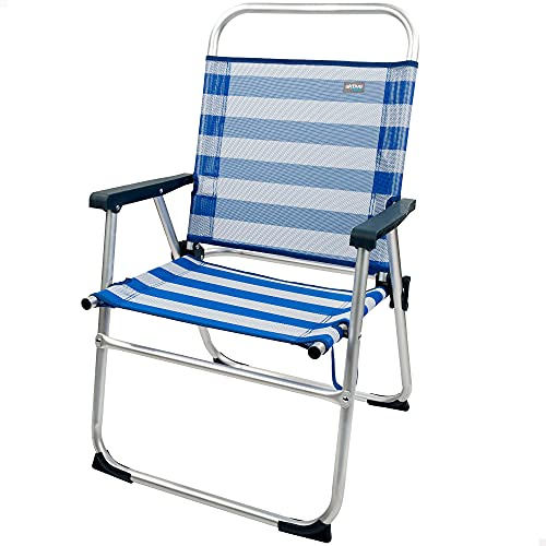 Aktive 53952 - Silla plegable de playa, Silla playa, medidas 56x50x88 cm, con asa de transporte, Silla de aluminio y fija, color azul y blanco, 100 kg, Aktive Beach