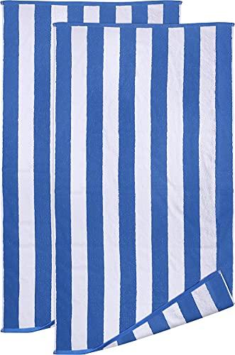Utopia Towels - Toallas de Playa Blancas y Azules de Primera algodón Hilado en Anillos, 600 gsm Altamente Absorbente, súper Suave y de Secado rápido (Paquete de 2)