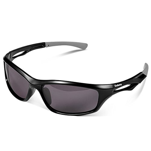 Duduma Gafas de Sol Deportivas Polarizadas Para Hombre Perfectas Para Esquiar Golf Correr Ciclismo TR90 Súper Liviana Para Hombre y Para Mujer (marco negro con lente negro)