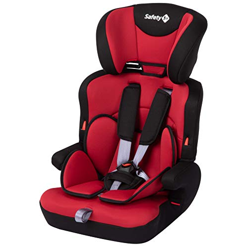 Safety 1st Ever Safe Plus Silla Coche Grupo 1 2 3, Crece con el Niño 9 meses - 12 años (9-36 kg), Con Cojín Reductor Extraíble, Full Red (rojo)