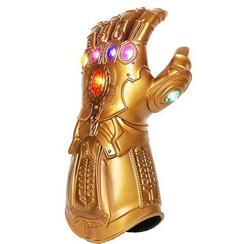 UrMsun Iron Man Infinity Gauntlet para niños con 2 Pilas Recambio, Iron Man Glove LED con Piedras para niños 0-12