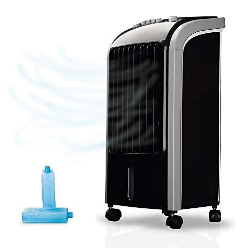 NEWTECK-Climatizador Evaporativo Portátil Wind Pure: Refresca, Ventila y Humidifica. Climatizador Portátil Frío (4L) con 3 Velocidades, Oscilación 120º y Filtro Antibacterias. Incluye 2 packs de hielo