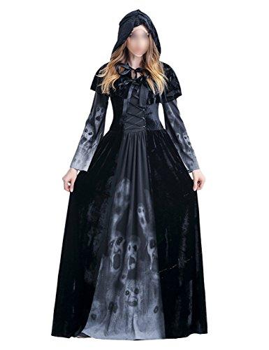 THEE Adultos Disfraz de Bruja Diablo para Halloween