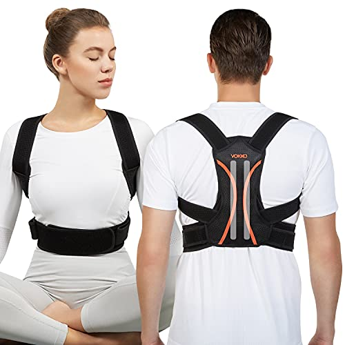 VOKKA Corrector de Postura Hombre y Mujer, Soporte Columna/Espalda, Totalmente Ajustable, Refuerzo Transpirable Espalda, Cómodo Enderezador Clavícula, Alivio Dolor Cuello/Espalda, Hombros, Negro