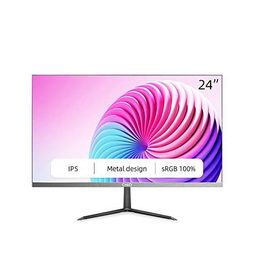 CHiQ Monitor de 24' Full HD (1920 x 1080) LED, IPS, 5 ms, 3 Lados sin Bordes, Ultra Slim, HDMI, DP, VGA, Filtro luz Azul, Flicker-Free, Freesync, Compatible con Soporte VESA 2021