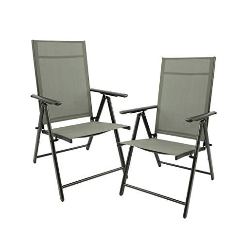 MaxxGarden Juego de 2 sillas plegables de jardín, sillas de camping, sillas de jardín, terraza, balcón, silla plegable de aluminio y plástico, color plata/gris