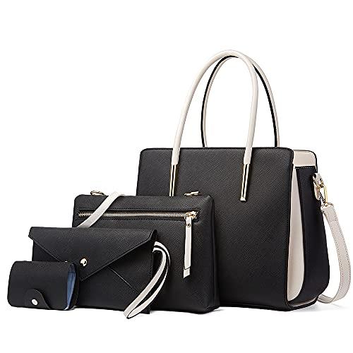LUOWAN Bolsos de Mujer Bolso Bandolera Tote Bolso Señora Tote Grande De Hombro Bolsos PU Cuero Bolsos de mano 4pcs Set (Negro)