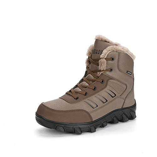 Hombres Botas de Senderismo Impermeable Invierno Zapatos de Trekking Deportivos Cámping Nieve Botines Negro Marrón Marrón 46