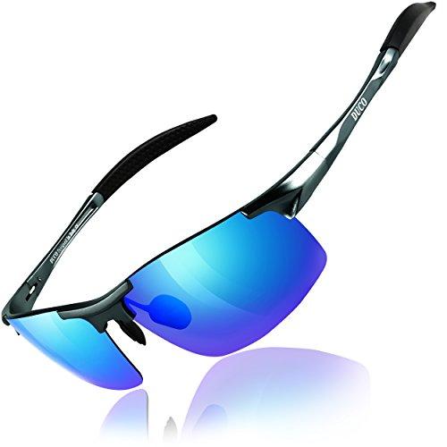 Duco Gafas de sol deportivas polarizadas para hombre con ultraligero y marco de metal irrompible, 100% UV400-8177S (Lente azul reflejada)