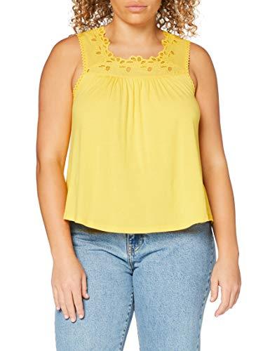 Superdry Woven Trim Vest Camiseta de Tirantes, Amarillo (Springs Yellow Qli), L para Mujer