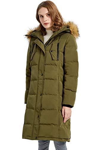 Orolay Abrigo de Plumíferos Largo de Exterior para Mujer con Capucha Chaqueta Acolchada de Invierno Verde X-Small