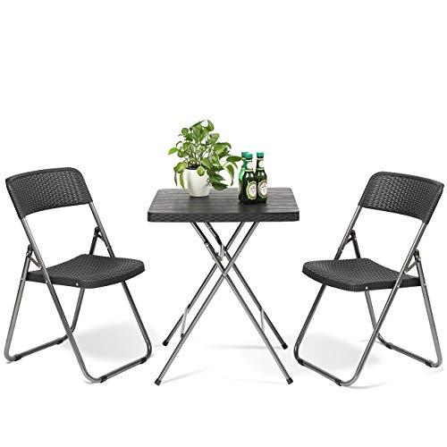 Sekey Conjunto de Muebles de Balcón 3 Piezas, Muebles de Jardín, Sillas de Ratán para Ocio con Mesa de Centro, Plegable para Patios y Terrazas Exteriores, Negro