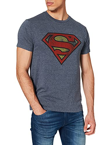 Superman T-Shirt Camiseta, Azul, XL para Hombre