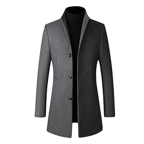 Abrigo de invierno para hombre, de lana, acolchado, largo, grueso, elegante