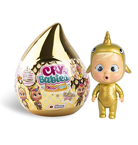 Bebés Llorones Lágrimas Mágicas Casita Dorada (Golden Edition)- Mini bebé llorón sorpresa coleccionable con lágrimas y accesorios dorado; muñeca para niña y niño de +3 años