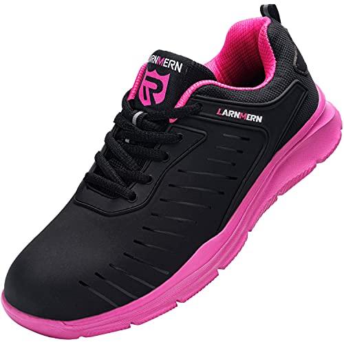 Zapatos de Seguridad Hombre Mujer, Punta de Acero Zapatos Ligero Zapatos de Trabajo Respirable Construcción Zapatos Reflexivo Botas de Seguridad LM-112 (37 EU, Rosa)