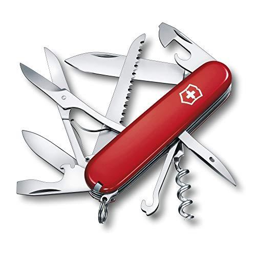 Victorinox Huntsman Navaja con 15funciones, incluyendo tijeras, sierra para madera y destornillador, color rojo